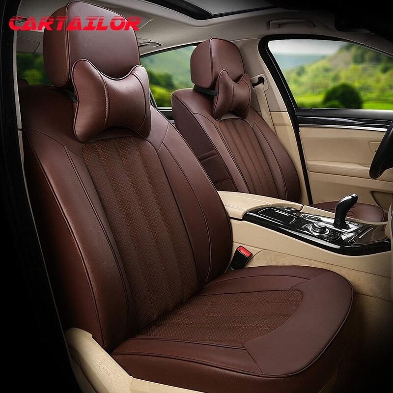 Fundas de asiento para automóviles CARTAILOR para Toyota Land Cruiser Prado cubierta de asiento de coche de cuero de vaca asientos cojines Protector conjunto
