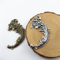 6pcs Antique Style Bronze Silver Tone Alloy Pendants Creative Flower Charm Jewelry Accessories 63*40*2 mm Mixed Color