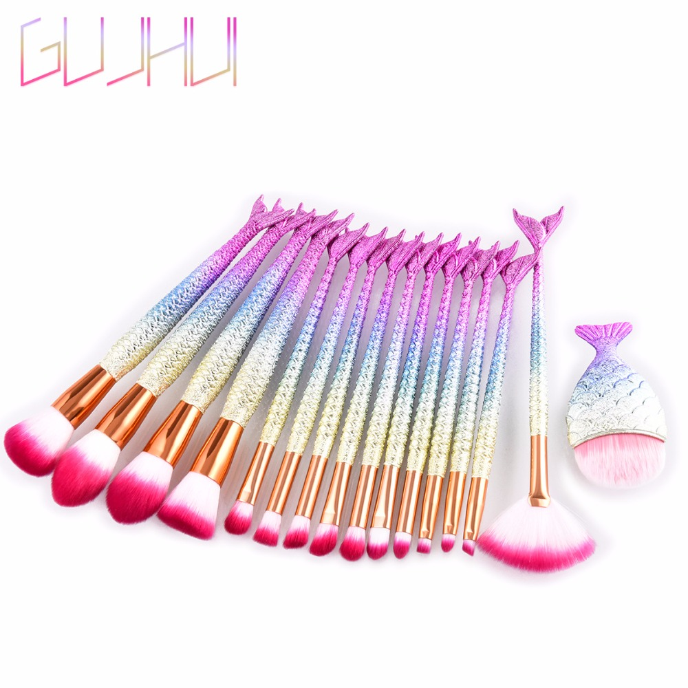 15/16pcs Mermaid Makeup Brushes Set Eyeshadow Eyeliner Blush Blending Contour Foundation Cosmetic Beauty Make Up Brush Tools Kit 10 15 pcs professional mermaid makeup brush set eyeshadow lip brush eye beauty tools for women cosmetic brushes kits