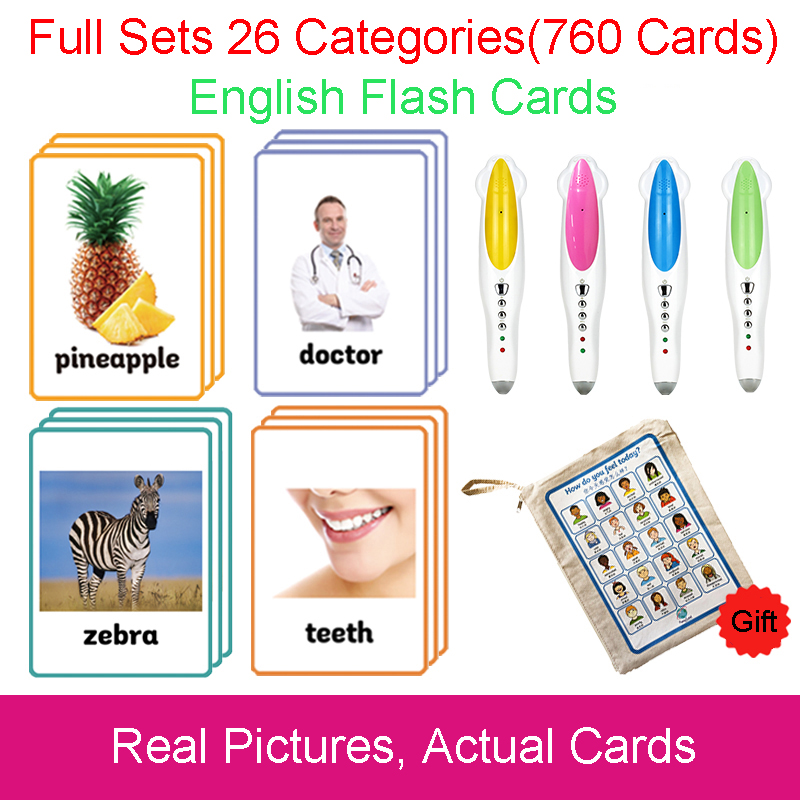 26 Categories 760 Cards Kids Montessori Learn English Flash Card Puzzle Games Educational Toys For Children