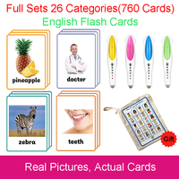 26 Categories 760 Cards Kids Montessori Learn English Flash Card Puzzle Games Educational Toys For Children Juguetes Educativos