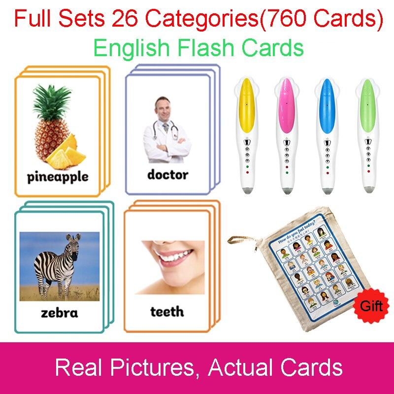 26 categorías 760 tarjetas Montessori aprender inglés tarjeta de Flash juegos de rompecabezas Juguetes Educativos para niños Juguetes Educativos