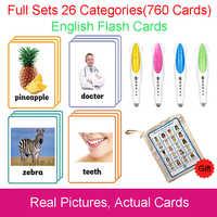 26 categorias 760 Cartões Crianças Montessori Aprender Inglês Flash Card Jogos de Puzzle Brinquedos Educativos Para Crianças Juguetes educativos