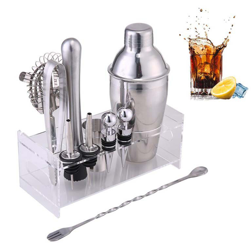 Bar Wine Mixer Bartender Set Cocktail Hand Shaker Tool 12Pcs Set With Holder Stainless Steel Mixer Gadget Bar Sets in Bar Sets from Home Garden