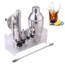 Bar Wine Mixer Bartender Set Cocktail Hand Shaker Tool 12Pcs/Set With Holder Stainless Steel Gadget Sets