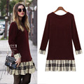 New Autumn Winter Women Dress Stitching Grid Plaid Slim Round Neck Long-Sleeved Long Flounced Hem Knit Dress Bottoming Dresses