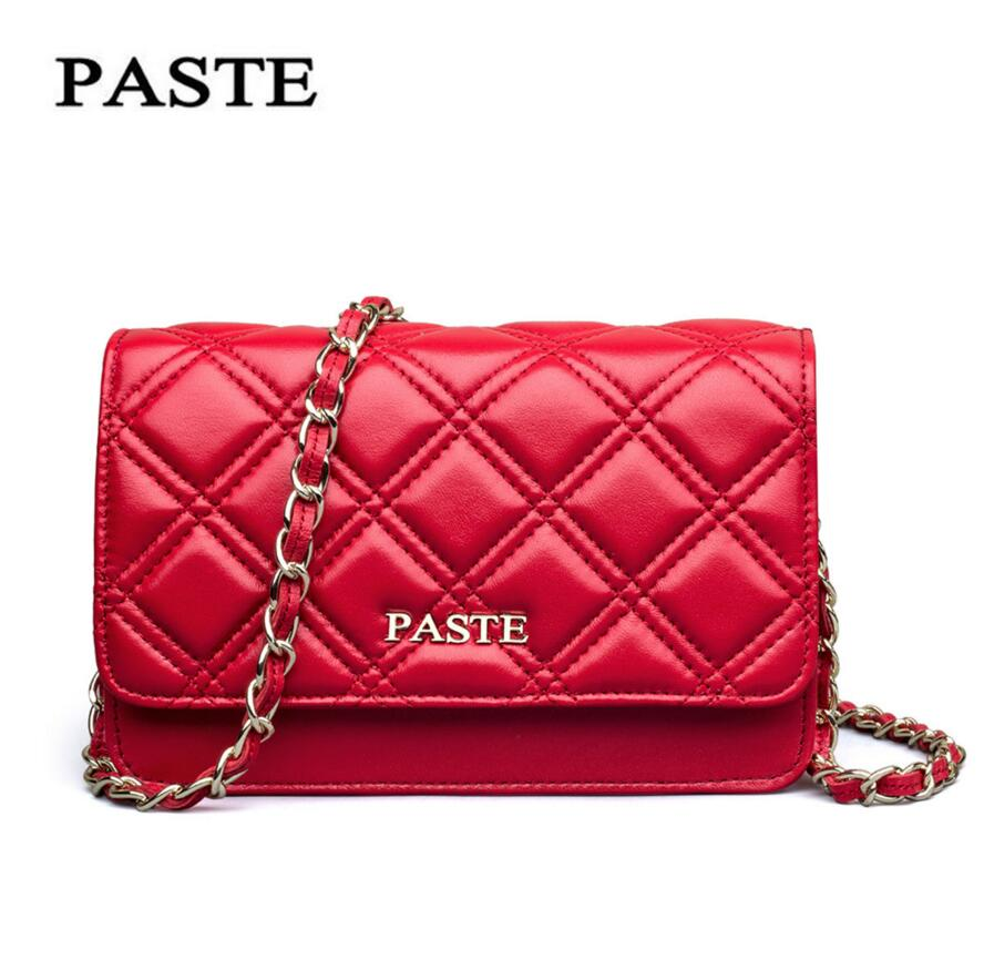 PASTE Brand Ladies Bag  New Fashion Mini Bag Sheepskin Packet Ling grid Chain Package Leather Handbags Messenger Bag Shoulder lipt 2018 mini package bag chain bag small package of the new spring and summer leisure package free shipping