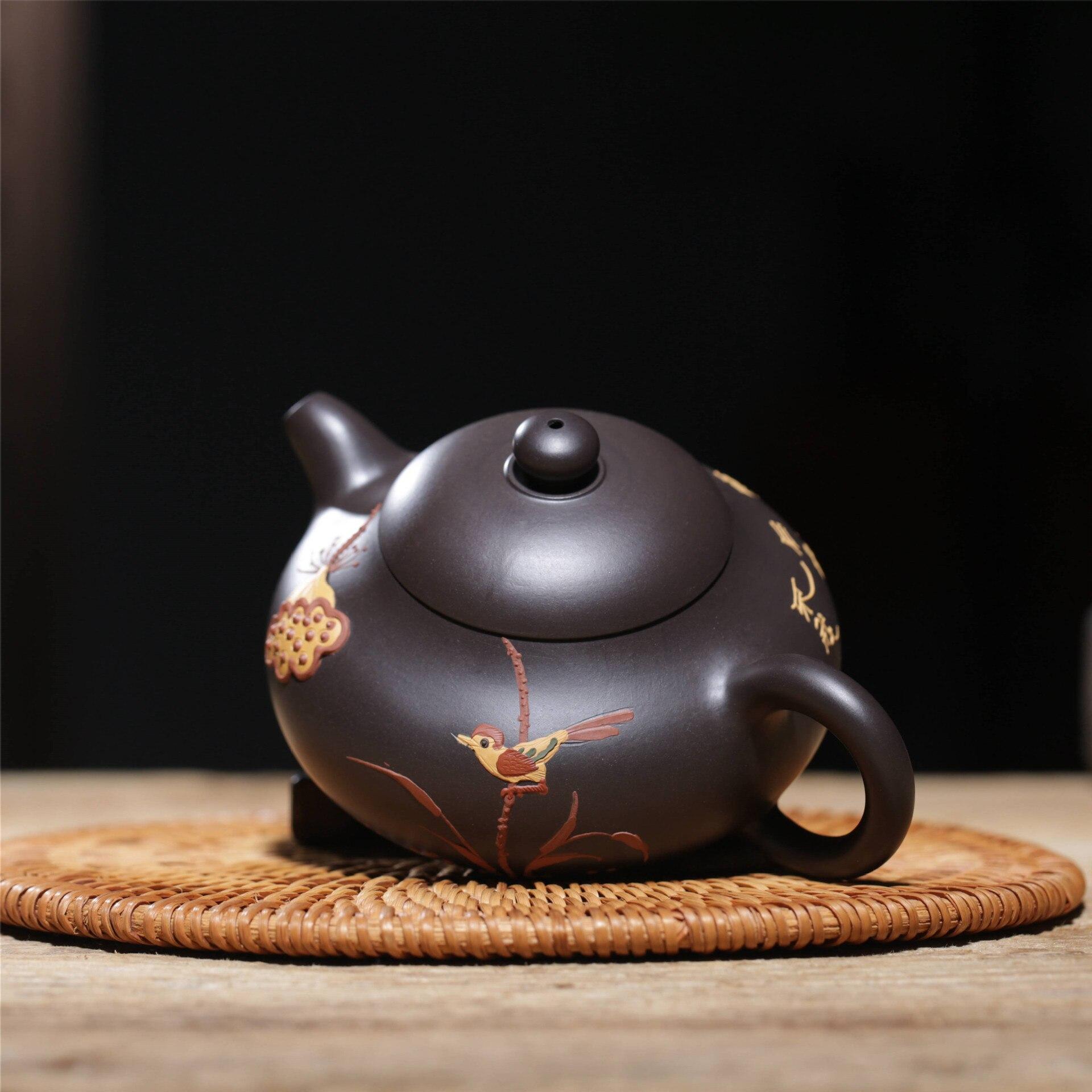 Известная ручная НЕОБРАБОТАННАЯ руда черного грязевого цветной рисунок или узор Xi Shi чайник завод прямой Wechat бизнес бесплатно агент - 2