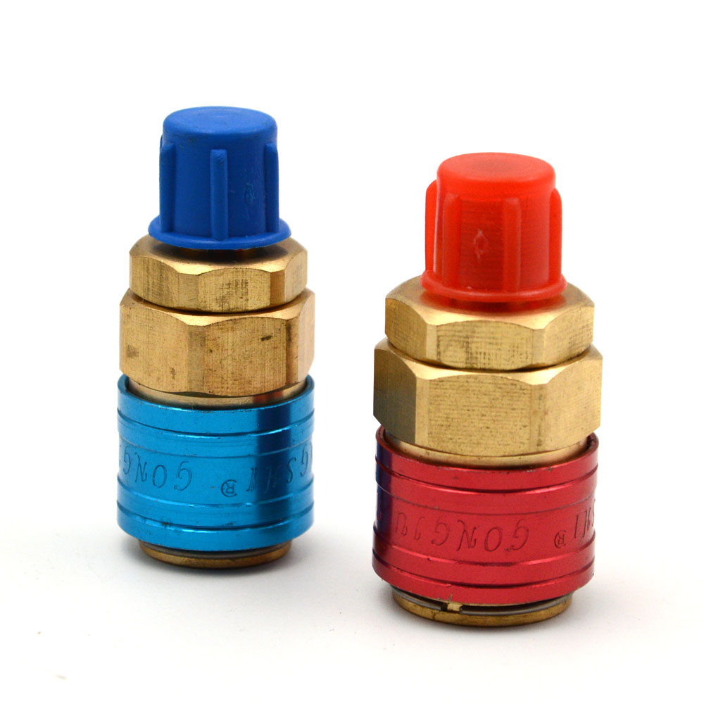 Gzhengtong 180 Degree 1/4 SAE R134a High / Low Pressure Side Quick Coupler Brass Connector Adapter Manifold Conversion Kit