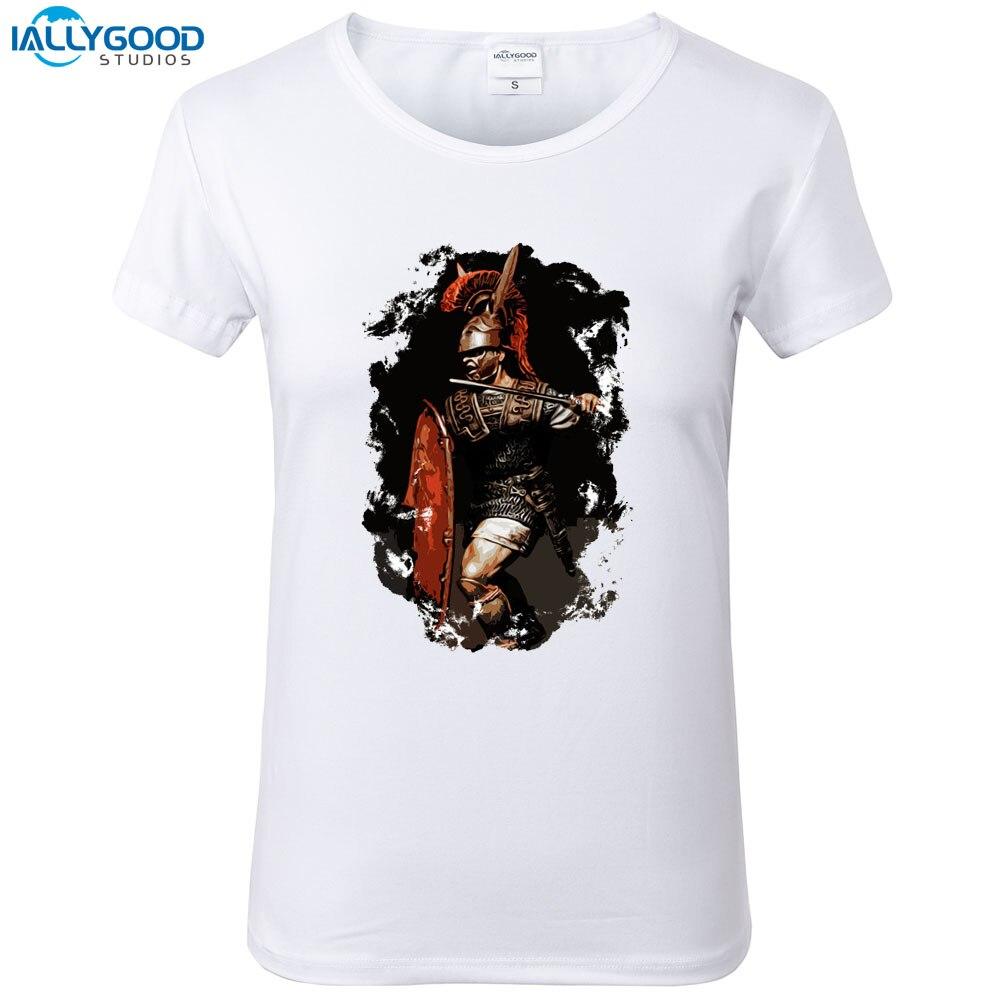Summer Funny Roman Warrior T-Shirt Women Cool Roman Legionary Printed T shirt Soft Short Sleeve Women White Tops S1593