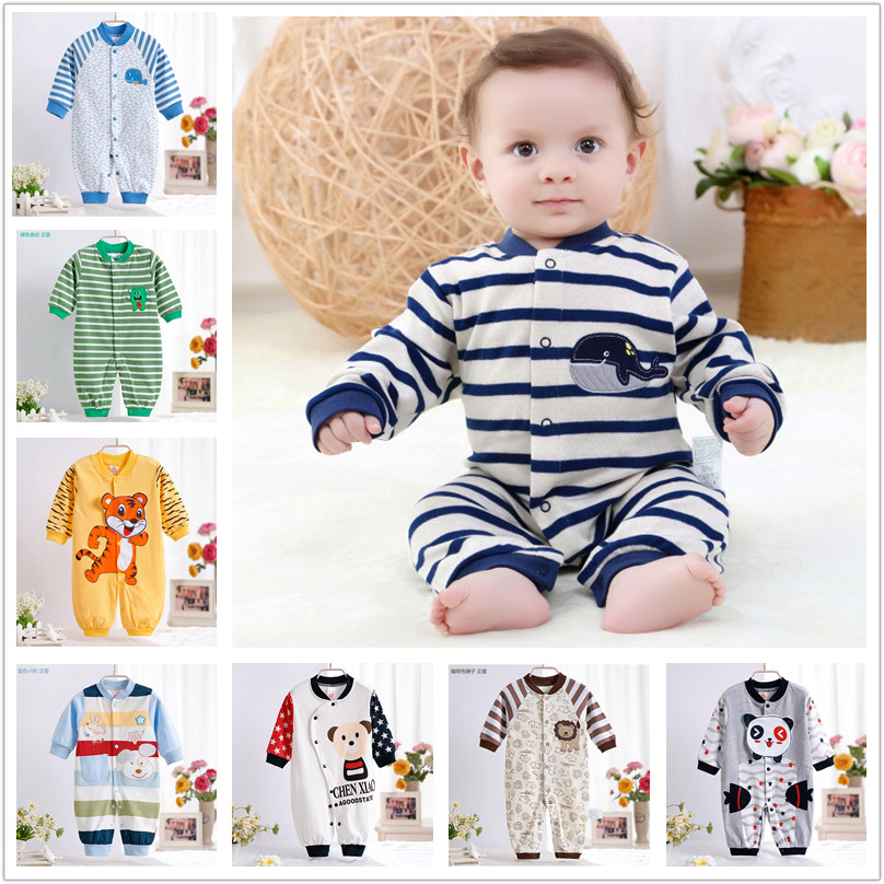 0-12M Newborn Baby Boy Clothes Rompers Spring Autumn Cotton Cartoon Panda Rompers Long Sleeves Striped Baby Clothes V20C warm thicken baby rompers long sleeve organic cotton autumn