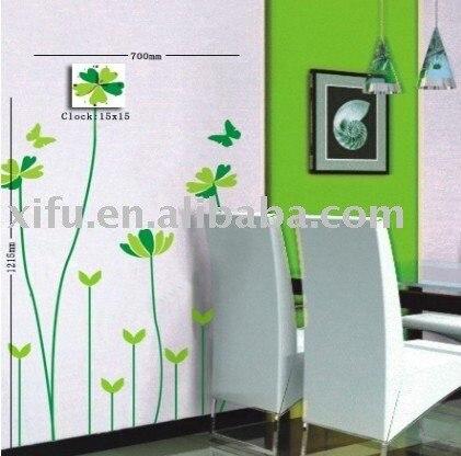 New arrival! PVC Decorative Wall Stickers Clock Modern Design,DIY Art Wall Clock Mechanism-Butterfly Grass