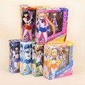 """Sailor Moon Anime Lua + Mercúrio + Mars + Vênus + júpiter + Saturno Set PVC Figuras de Ação Brinquedos Colecionáveis 7 """"15 CM"""