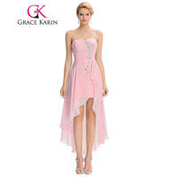 High Low Bridesmaid Dress 2016 Short Front Long Back Prom Gown Strapless Bead Sequin Pink Turquoise