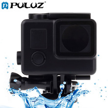 цена на PULUZ Black Edition Waterproof Housing Protective Case with Buckle Basic Mount for GoPro HERO4 /3+Waterproof Depth: 10m