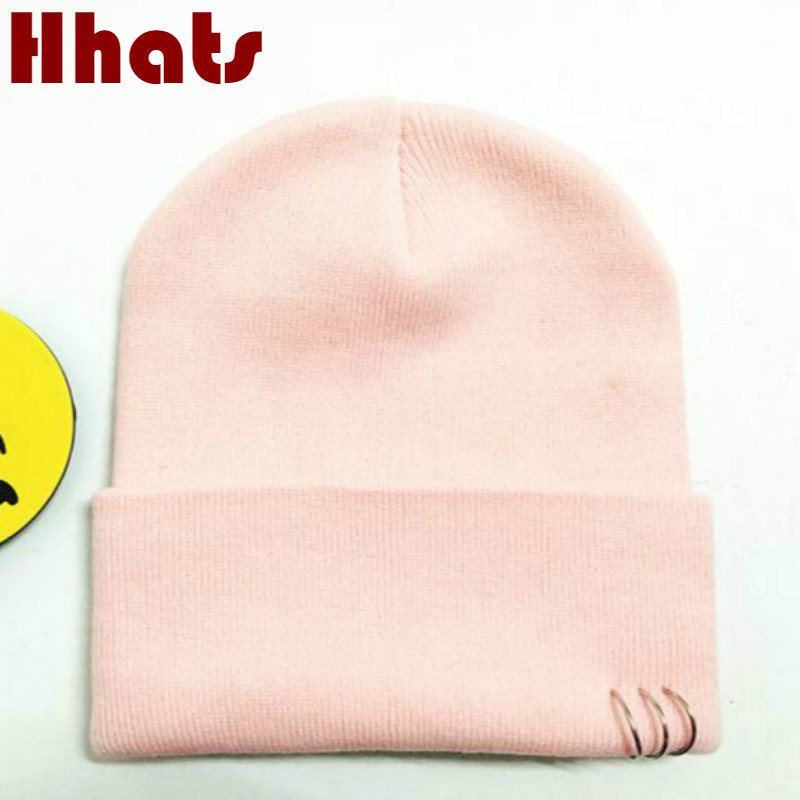 which in shower women men hip hop   skullies     beanie   ring plain knitted autumn winter hat male female blank cap pink black white
