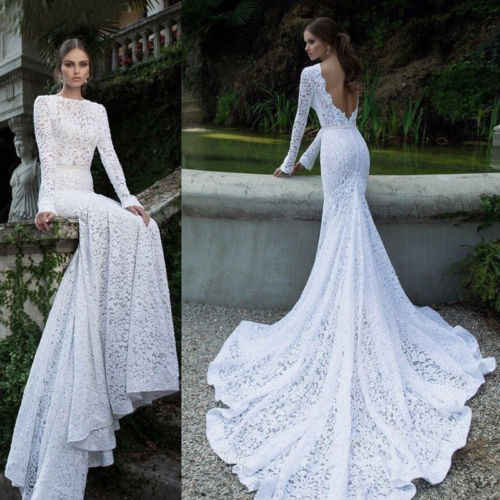 Fashion Women White Lace Maxi Dress Long Sleeve Backless Wedding Evening Party Ball Prom Gown Lady Formal Party Long Floor Dress