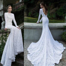 Fashion Wanita Putih Lace Maxi Dress Lengan Panjang Backless Pernikahan Malam Partai Bola Prom Gaun Formal Pesta Panjang Lantai gaun(China)