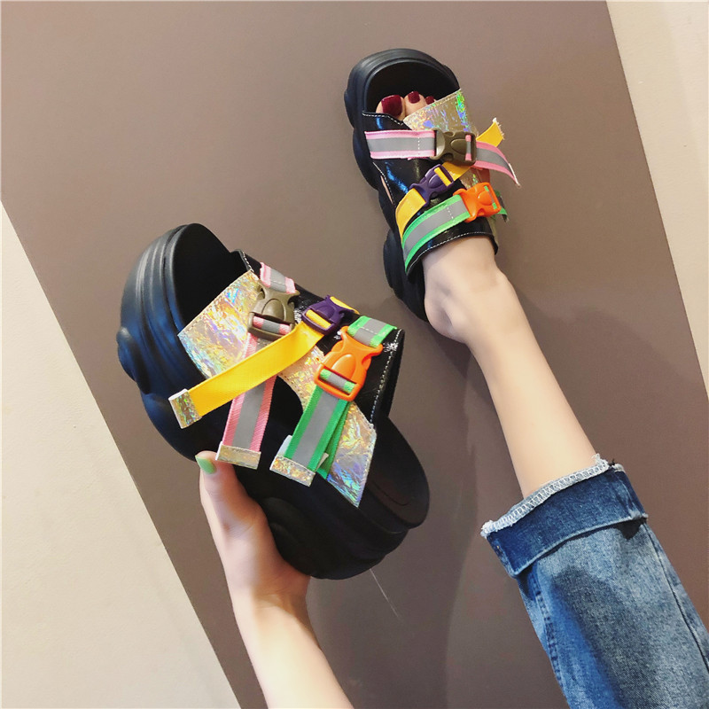 Rimocy High Fashion Womens Heeled Colorful Buckle Slides New 2019 Summer Hot Mix Color Thick Bottom Wedge Slippers Sandals Mujer