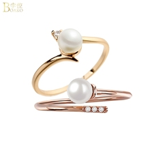BOAKO Pearl Rings for Women Girl Dainty Ring Rose Gold Wedding Engagement Adjustable Bead Thin Gift Party Jewelry Z5