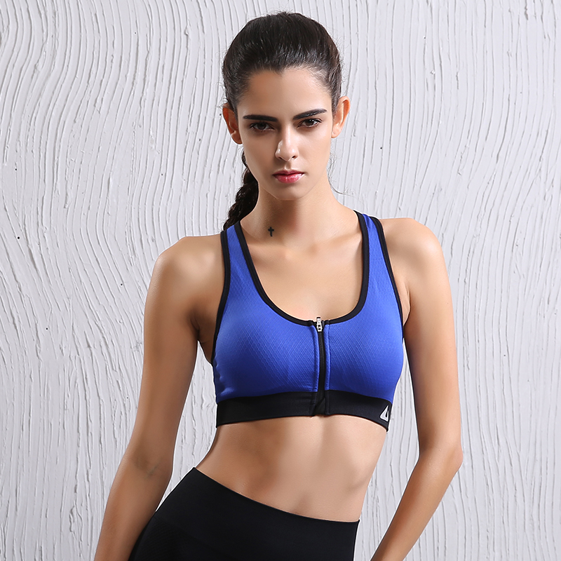Quick Dry Wireless Support Shockproof Sports Bra Front Zipper Padded Patchwork Professional