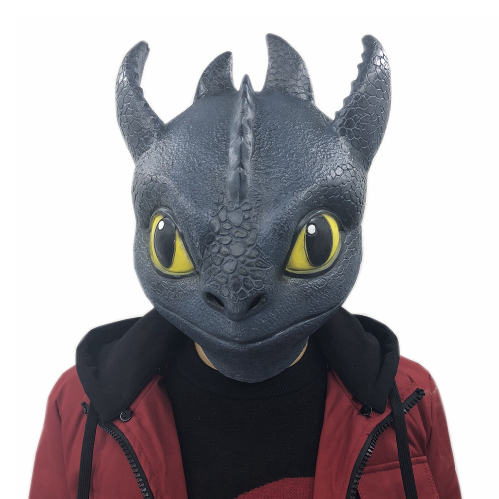 2019 Movie How To Train Your Dragon Cosplay The Hidden World Toothless Night Fury Full Head Mask Cosplay Halloween Latex Masks