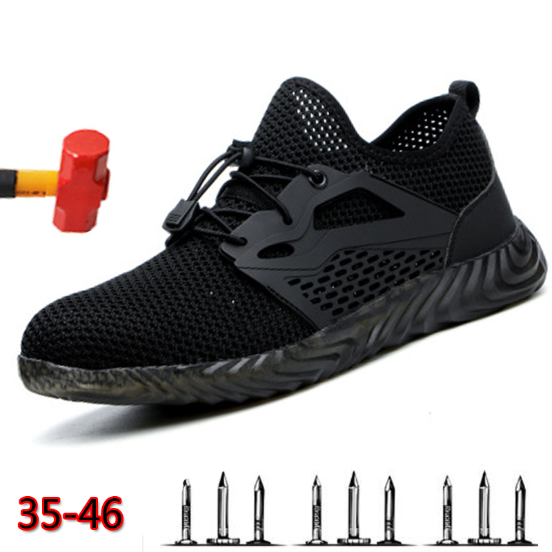 Work Safety Boot Air Mesh Safety Shoes Male Steel Toe Boots Men Puncture-proof Indestructible Work Sneakers Shoes Free Shipping