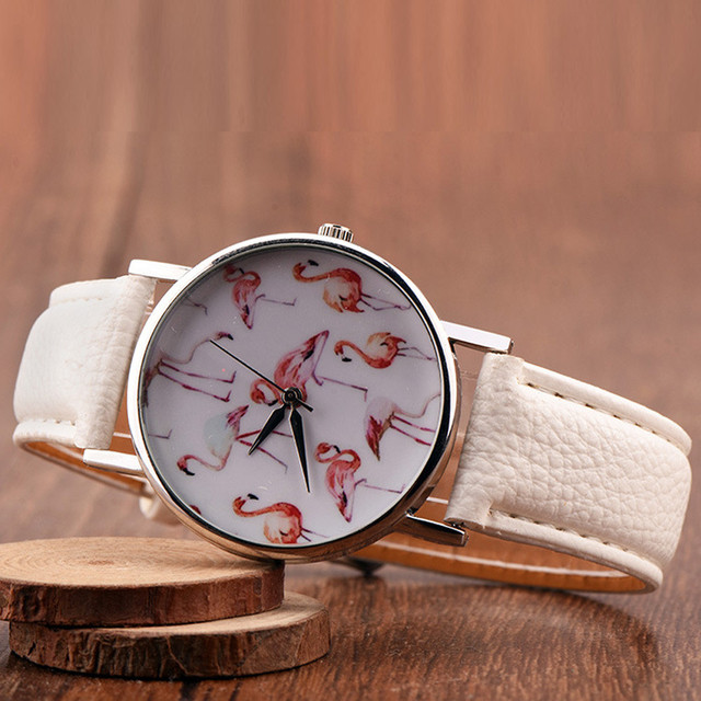 Flamingo Printed Leather Strap Watch Women