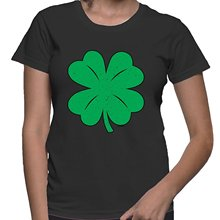 HAASE UNLIMITED WOMENS Green Distressed Shamrock, Clover – St Patricks Day T-shirt
