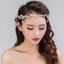 Elegant Bridal Crystal Crown Wedding Rhinestone Waterdrop Leaf Tiara Frontlet Bridesmaid Jewelry Hair Accessories Hair Ornaments