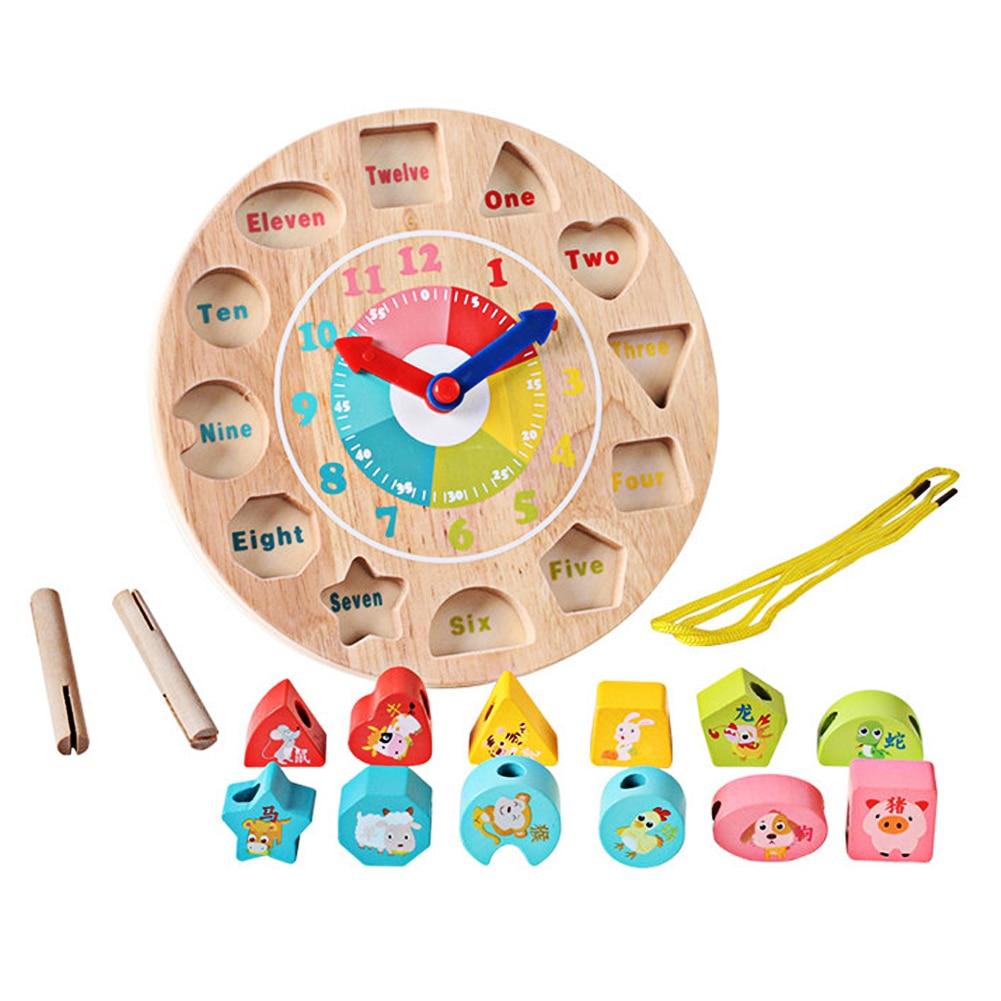 Wooden 12 Number Colorful Puzzle font b Digital b font Clock Wooden Zodiac Cognitive Baby font
