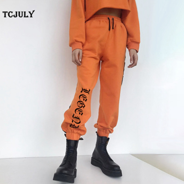 8d543ea7b7644 TCJULY New Style Letter Printed Ankle Banded Sweatpants Women High Waist  Drawstring Loose Casual Warm Pants