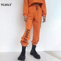 TCJULY Nowy Styl Pismo Drukowane Kostki Banded Sznurek Luźne Dorywczo Ciepłe Spodnie Damskie Spodnie Dresowe Wysokiej Talii Moda Pomarańczowe Spodnie