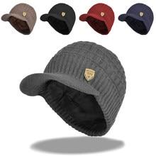 15e8ea0ba3f 2018 Mens Beanie With Visor Winter Hats Skullies Beanies Hat Winter Beanies  For Men Wool Caps Gorras Bonnet Knitted Hat Brim Cap