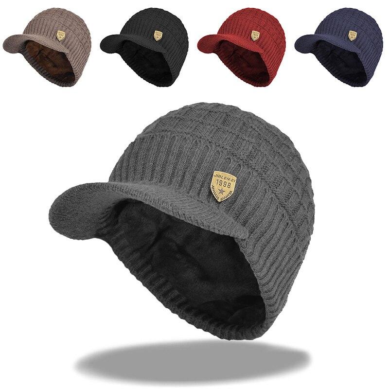 2018 Mens   Beanie   With Visor Winter Hats   Skullies     Beanies   Hat Winter   Beanies   For Men Wool Caps Gorras Bonnet Knitted Hat Brim Cap