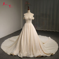 Jark Tozr Vestido De Noiva Off The Shoulder Short Sleeve Lace Up Light Champagne Vintage China Bridal Wedding Dress Mariage