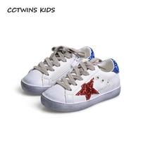 CCTWINS ENFANTS 2017 En Bas Âge De Mode Sport Dentelle-Up Chaussures Bébé Fille Enfant Glitter Sneaker Enfants Pu En Cuir Respirant Formateur F1830