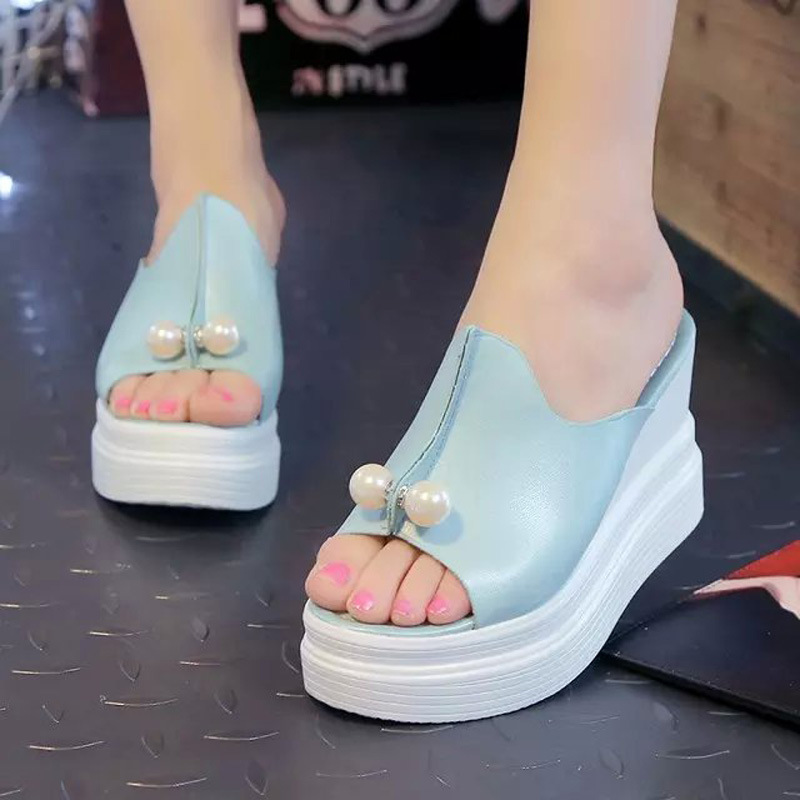 Women Wedges Platform Sandals Summer Beach Slippers Thick Heel Slippers Slides Ladies Casual Shoes Zapatos Mujer women sandals 2017 summer shoes woman flips flops wedges fashion gladiator fringe platform female slides ladies casual shoes
