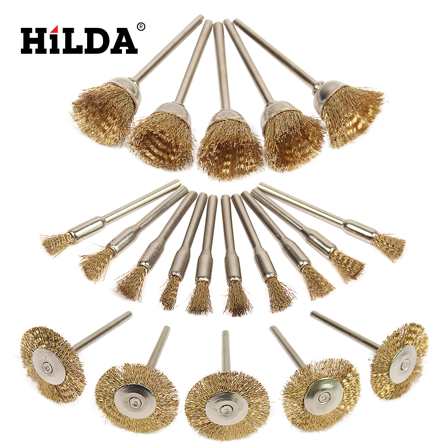 HILDA 20pcs Brass Steel Wheel dremel wire Brush Set dremel tools accessories burr abrasive head deburring drill tools Wheel свитшот для мальчика overmoon hawkins цвет синий 21110100007 500 размер 146