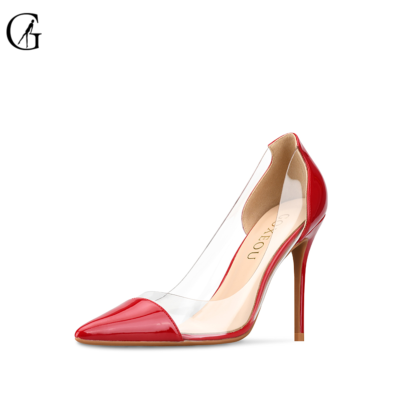 ccc5d69eefa7 GOXEOU Women Pumps 2018 Transparent red High Heels Sexy Pointed Toe Slip-on  Wedding Party Shoes For Lady plus Size 32-46 - aliexpress.com - imall.com