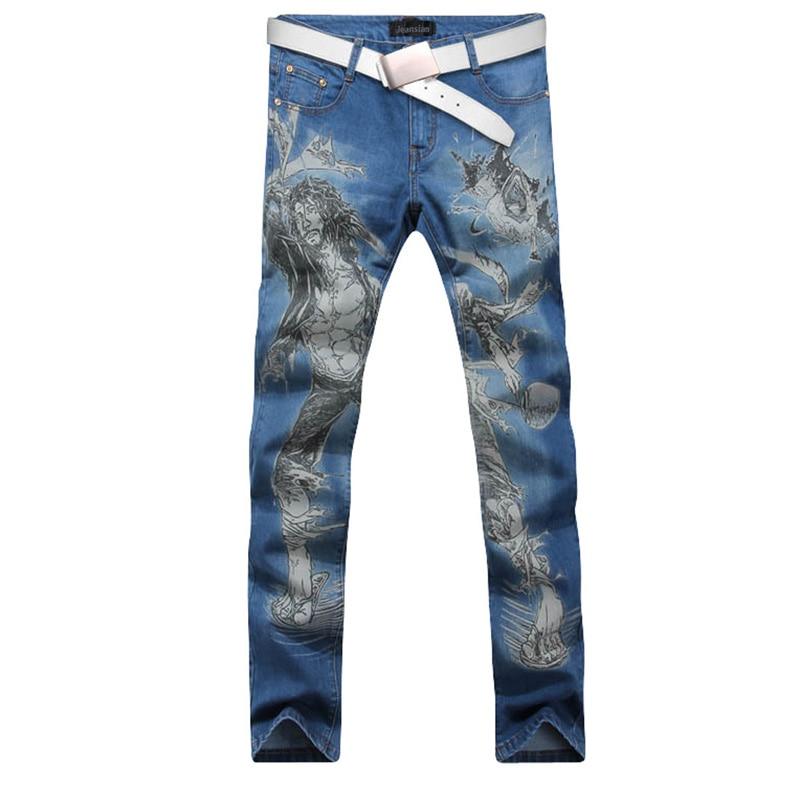ФОТО 2017 new fashion straight leg jeans long men male printed denim pants cool cotton designer good quality brand trousers  MJB018