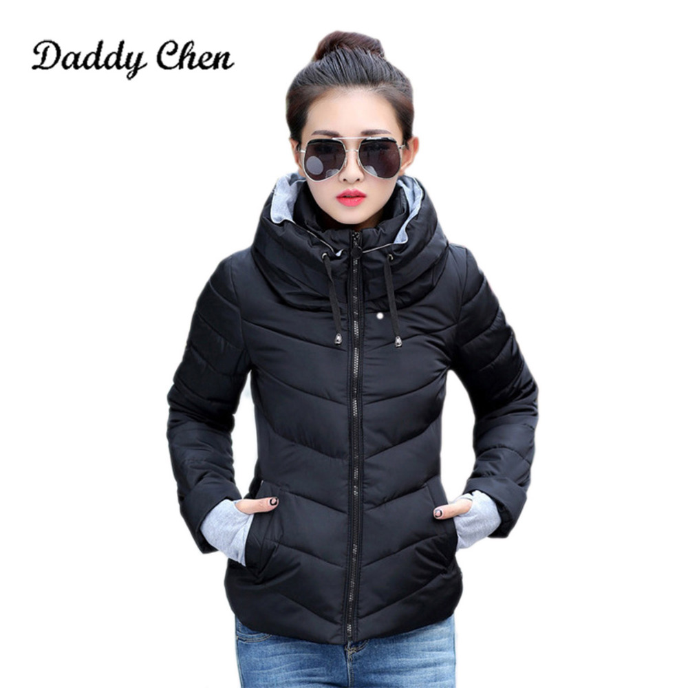 2017 fashion winter warm women coat jacket overcoat short wadded padded down coats parka female outerwear black white