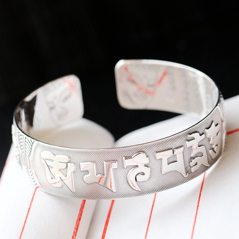 Retro Silver Jewelry Wholesale S990 Sterling Silver Bangle Guan Yin Bodhisattva Six-character Heart Drop BangleRetro Silver Jewelry Wholesale S990 Sterling Silver Bangle Guan Yin Bodhisattva Six-character Heart Drop Bangle