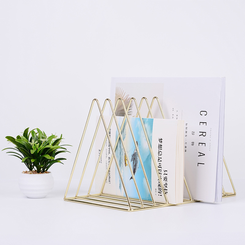 New Bookends Metal Electroplated Lined Book Holder Stands Home Office Desk Organizer Decorative Book Shelf цена