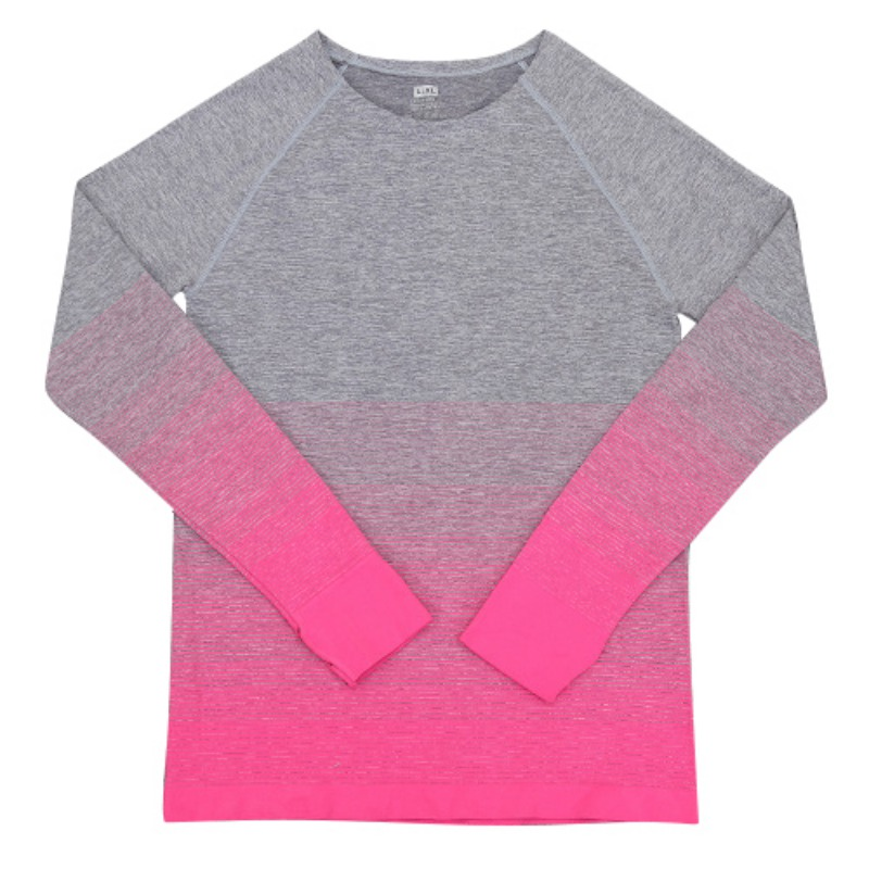 2017 winter sport Women gradient color long sleeve shirt elastic lady Yoga T-shirt Outdoor