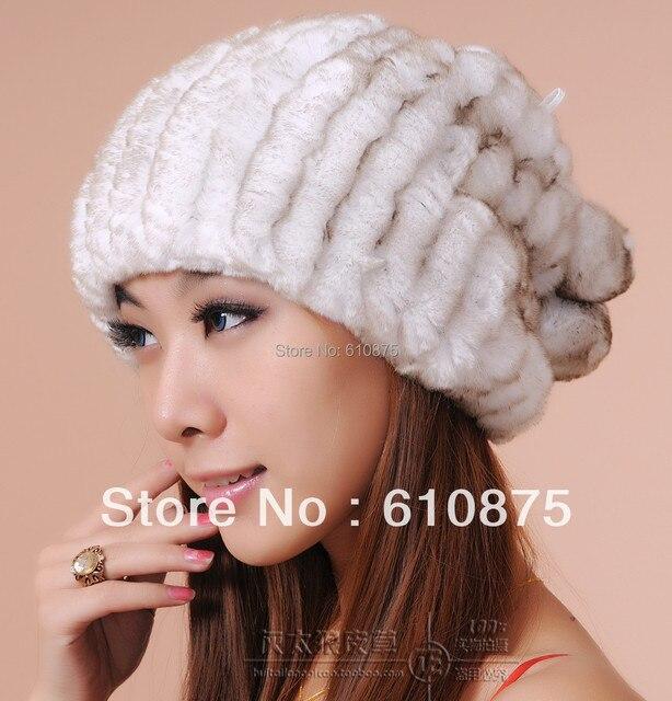 Venta caliente de la mujer de pelo de conejo rex sombrero de piel hecho punto sombrero rex conejo doble sombrero de la bufanda collares conejo rex Gorros femeninos,