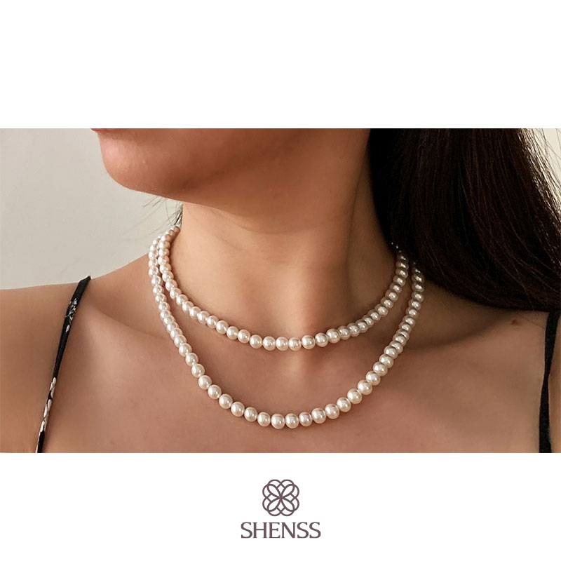 Elegant Silver 925 Jewelry Classic Temperament Wedding Necklace 6mm Shell Pearl Cream 925 Sterling Silver Double Chain For Women