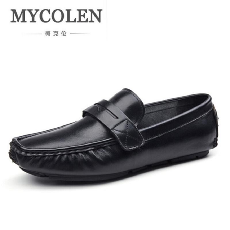 MYCOLEN Brand Fashion Leather Men's Flats Shoes Slip-On Men Loafers Black Driving Shoe Casual Sapatos masculino farvarwo genuine leather alligator crocodile shoes luxury men brand new fashion driving shoes men s casual flats slip on loafers