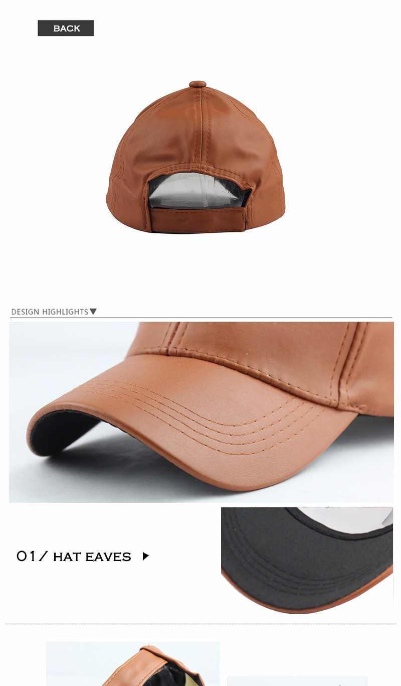 FETSBUY New High Quality Leather Cap Biker Trucker Caps PU Solid Color HIP HOP Snapback Baseball Cap Fitted Adjustable Hat 2017 13