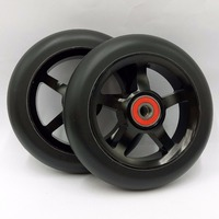 Freeshipping Metal Freestyle Stunt Scooter Wheels Black PU Green Aluminum 110 Mm 88A 2PCS Lot